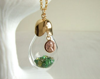 Lucky Penny Bottle Jewelry Necklace - Emerald - Peridot - May Birthday - August Birthday - Gift for Her - Mixed Green - Shaker Pendant