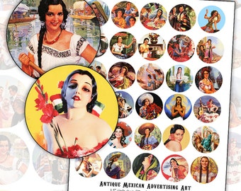Mexican Pin Up Girl Advertising Poster Art 1.5 inch circle digital collage sheet 38mm 1920's 1930's 1940's