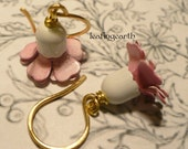 CHERRY WHITE pink and white enamel flower earrings