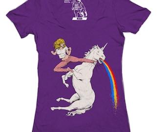 Womens Bloodsport Barbie Vneck, Funny Unicorn tee, Rainbow tshirt, Animal, Pride, Mysitcal, Magical, Womens Deep V, t-shirt, S-2XL Available