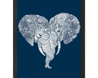 Punch Trunk Love, Elephants, Heart, Poster, Wall Art,18x24 Print