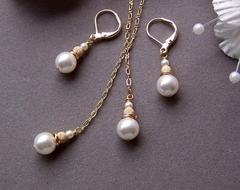 Bridal Lariat Necklace and Earrings set – Swarovski Crystal Pearl and Gold Filled, Bridesmaids Gift, Made of honor- 5010