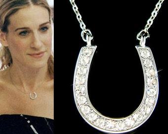 Lucky Swarovski Crystal Horseshoe Western Wedding Celebrity Pendant Chain Necklace Christmas Gift New