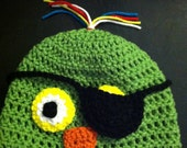 Crochet Pirate Parrot Beanie Skullcap Hat with Removable Eye Patch-cute photo prop -available in all sizes newborn through adult