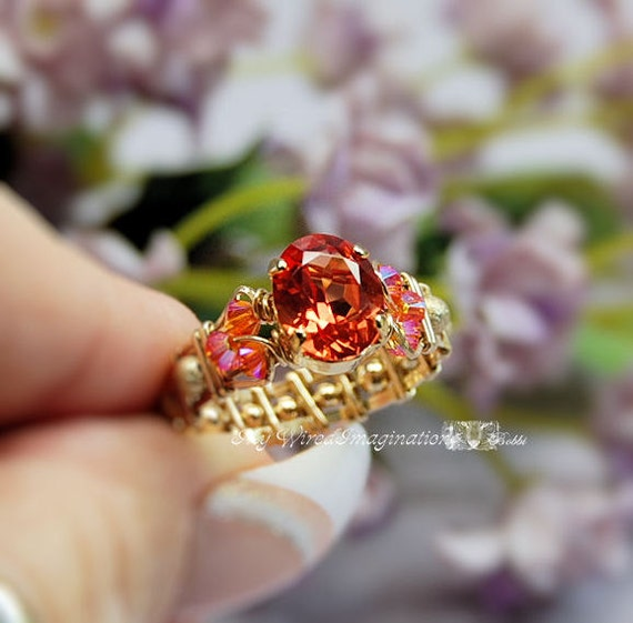 LAST ONE Padparadscha Sapphire Lab Created Hand Crafted Wire Wrapped Ring Original Signature Design Ring