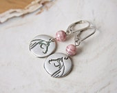 Horse Earrings Sterling Silver Pink Stone Handmade Stylized Horse Charm Recycled Silver Argentium Leverback Equestrian Jewelry Pink Earrings