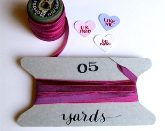 Hot Pink Ribbon, Valentines Day Ribbon, 5 + Yards, Magenta Fuchsia Pink, Valentine's Day Gift Wrapping, Scrapbooking, Paper Embellishment