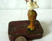 Bride and Groom - Crow and Dove on Tree on Tin - Black and White Folk Art
