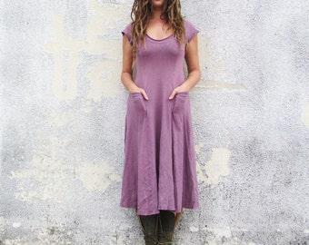 Women's ORGANIC Crescent Perfect Pockets Below Knee Dress ( LIGHT hemp/organic cotton knit ) - organic hemp dress