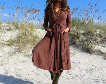 ORGANIC Hooded Perfect Pockets Below Knee Belted Jacket (light hemp/organic cotton knit) - organic jacket