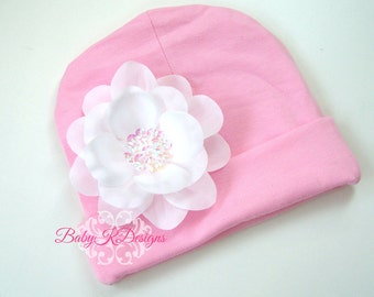 SAVE 15% Newborn Beanie / Baby Beanie / Girls Hat / Infant Beanie /  White n Pink Addison flower Cotton Knit Beanie Hospital Hat TWO SIZES