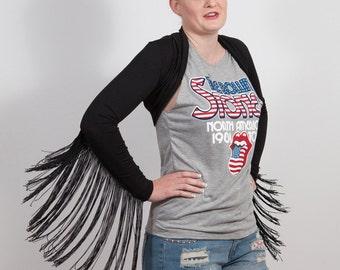 Fringe Sleeve Shrug, Ozzy, Rock Chick, Black or White, Size small to Medium