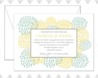 Modern Blossom Flower Wedding Invite set
