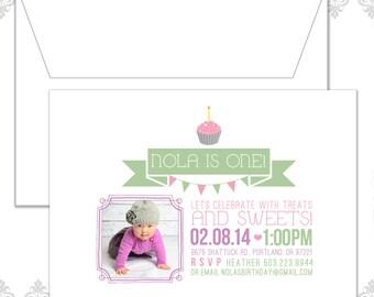 Cupcake FIrst Birthday Invitation