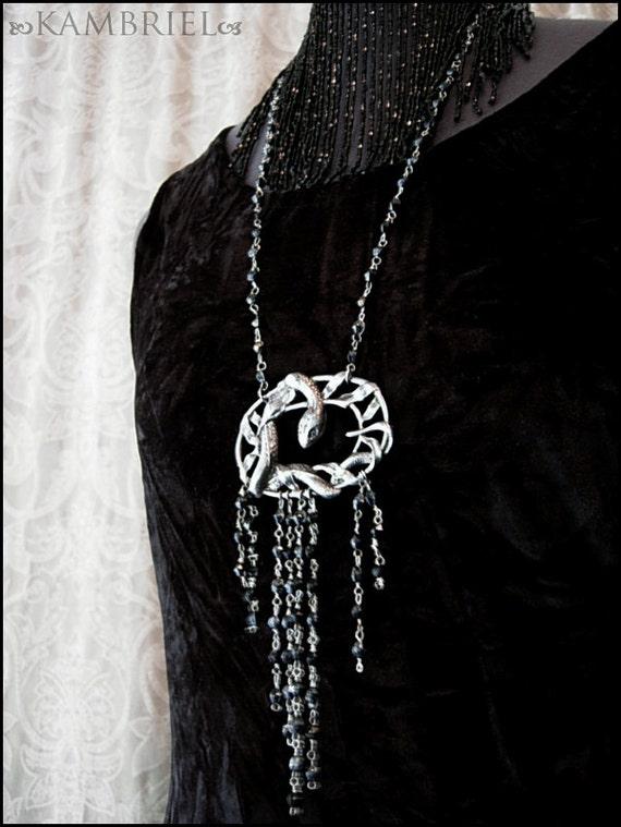 Art Nouveau Snake Necklace - antique serpent centerpiece circa 1910-1920