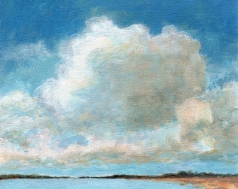 Clouds above the Bay - Original Landscape Painting Cloud Sea and Sky Calm Serene 8x8 Stretched Canvas