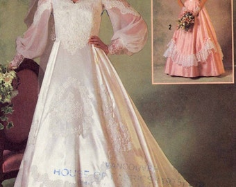 80s Romantic wedding dress sewing pattern vintage wedding gown Simplicity 6764 Sz 14 Bust 36 Uncut Brides