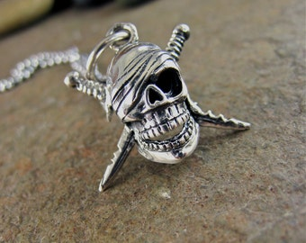 Men's Skull Necklace, Pendant Mens Silver Necklace Pirate Necklace Halloween Skeleton Gothic Steampunk Pirate Jewelry Skull & Daggers