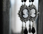 Black Victorian Gothic Earrings Cameo Dangle Earrings Black Swarovski Crystal Earrings Gothic Victorian Jewelry gift for women