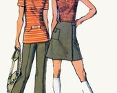 1970s Mini WRAP Skirt, Top and Pants Simplicity 9969 RETRO 70s Vintage Sewing Pattern Size 14 Bust 36