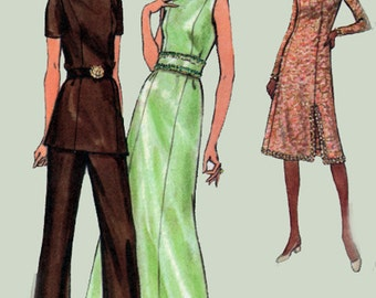 Vintage 1970s Party Dress, Maxi Evening Gown, Tunic Top and Pants Butterick 6468 Princess Seams 70s Retro Sewing Pattern Size 14 UNCUT