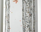 Large Birch Trees Hand Painted Personalized Wedding and Anniversary Platter - Birch Tree Themed Wedding, Fall Platter
