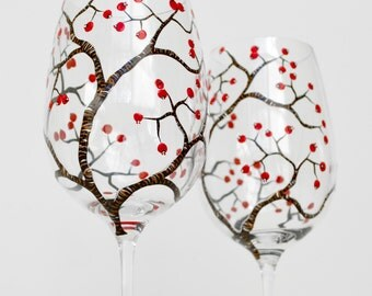 Red Berry Tree Branch Toasting Glasses - Hand Painted Glasses - Personalized Winter Wedding