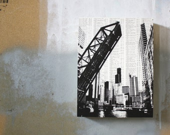 Chicago Riverwalk Skyline Print - Chicago Bridges Print - Black and White Book Page Print
