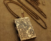 Secret Message Book Locket - Gold Book Locket Necklace