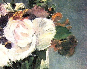 Edouard Manet - Flowers in A Crystal Vase - French Impressionist - 1977 Large Poster Sized Print