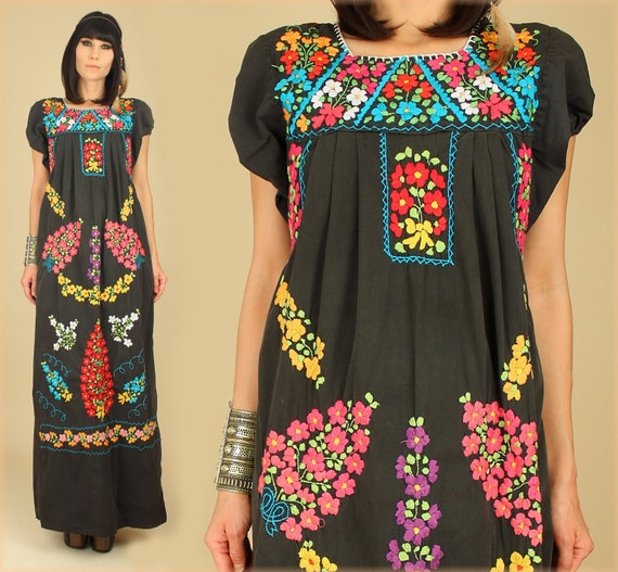 mexican wedding dress | MissEthnic.com - Vtg BLACK MEXICAN EMBROIDERED DEEP  V MAXI DRESS