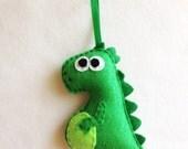 Dinosaur Ornament, Christmas Ornament, Desmond the Dinosaur - Made to Order, Felt Ornament, Felt Animal, Gifts under 20