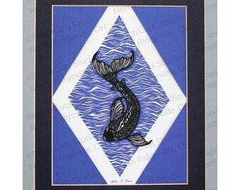 Koi Fish Papercutting, Handcut Original OOAK