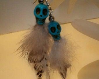 Skull Earrings, Turquoise Skull Earrings, Skull Earrings with Feathers & Turquoise Stone Skull Beads, Skull Beads in a Variety of Colors