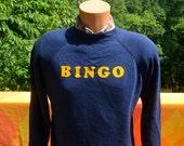 vintage 70s sweatshirt flock BINGO crew neck raglan jumper sweater Medium 80s soft
