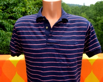 70s vintage polo golf shirt PEN WEST pendleton striped navy blue red Medium 60s