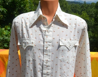 vintage 70s western shirt cowboy white LEAF pattern pearl snaps butterfly collar Large rockstar rodeo champion
