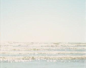 Beach photo, pale blue, sky, ocean, glistening ocean, waves, seaside, seashore, square, pale beach decor, ocean wall art - In Our Dreams