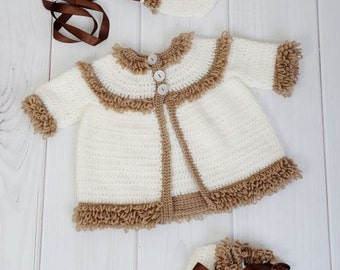 CROCHET PATTERN For Loopy Jacket, Hat and Bootees in 3 Sizes PDF 240 Digital Download