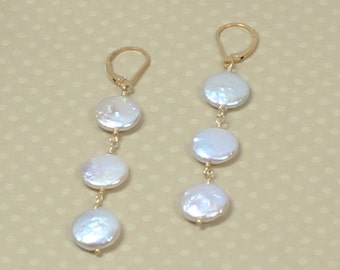 Coin Pearl Earrings, Long Coin Pearl Earring, June Birthstone, White Freshwater Coin Pearl, Long Pearl Drop Earrings, Gold Leverbacks