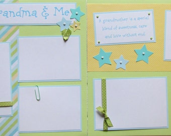 Premade 12x12 Scrapbook Pages -- MY GRANDMA & ME -- 12x12 Layout - family love, granny, grandmother, boy, baby boy, grandparent, 1st year