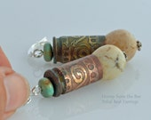 Tribal Earrings - Etched Bullet Casings with Turquoise and Magnesite drop