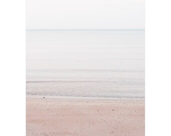 Beach Wall Art - Minimalist Landscape Photography - Large Pale Blue Pink Wall Art - Coastal Lake Huron - Soothing Beach Picture For Bedroom