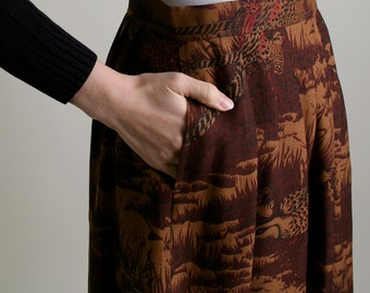 Vintage Bird Print Skirt - Wool Silk Burnt Sienna Brown Woodland Pleat Skirt - Small