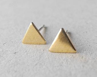 Triangle Stud Earrings,Minimal Earrings,Geometric Jewelry,Unisex Earrings,Cartilage Earrings,Sterling Silver Hypoallergenic Earrings (E196)