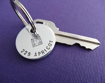 Personalized Keychain - House Keychain - Address Keychain - Hand stamped Accessory