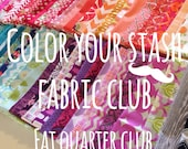 Fabric Club, Color Your Stash Fabric Subscription, Gift for Quilter, Free Aurifil Thread- Discount Fabric, Gift for Her- 12 fat quarters