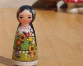 """Tiny Muse Wooden Frida Doll 2"""" inches Tall with flower garland"""