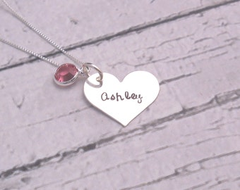 Personalized Heart Necklace, Sterling Silver Necklace, Heart Jewelry, Custom jewelry, Mothers Day gift for her