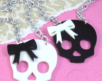SPOOKY CUTE - Cute Girly Skull Charm Necklace with Bow in Black and White Laser Cut Acrylic
